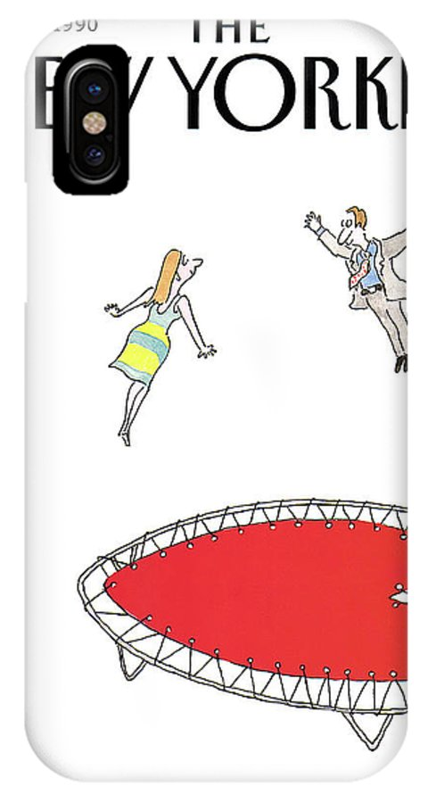 (a Man And A Woman Jump Towards Each Other On A Heart Shaped Trampoline.) Holidays IPhone X Case featuring the painting New Yorker February 12th, 1990 by Arnie Levin