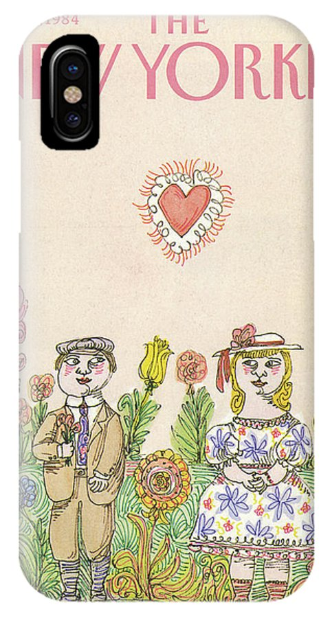 Holiday IPhone X Case featuring the painting New Yorker February 13th, 1984 by William Steig