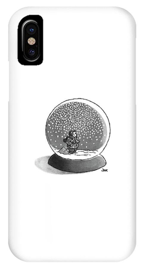 Philosophy IPhone X Case featuring the drawing New Yorker February 14th, 1977 by John Jonik