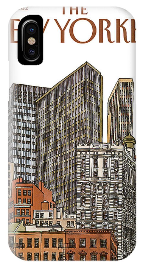 Business IPhone X Case featuring the painting New Yorker February 1st, 1982 by Roxie Munro