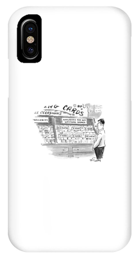 Consumerism IPhone X Case featuring the drawing New Yorker February 3rd, 1997 by Mike Twohy