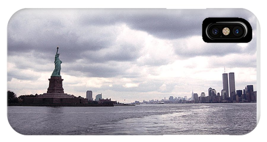 History IPhone X Case featuring the photograph New York Harbor Panorama Twin Towers And Statue by Tom Wurl