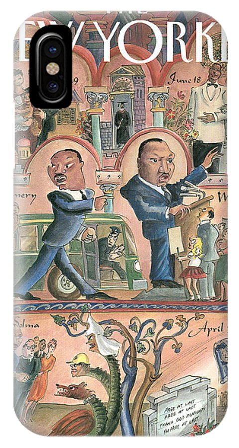 The Life Of Martin Luther King IPhone X Case featuring the painting New Yorker January 18th, 1999 by Edward Sorel