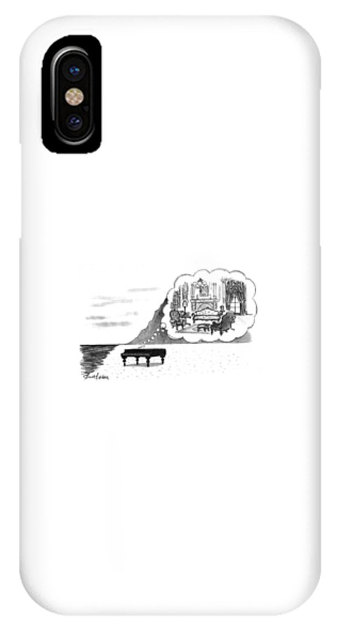 (the Piano On A Desolate Beach Wishing It Was In A Nice Parlor.)  No Caption Piano On Beach Has Mental Image Of Comfortable Victorian Parlor. Refers To Jane Campion's Film  IPhone X Case featuring the drawing New Yorker January 24th, 1994 by Mort Gerberg