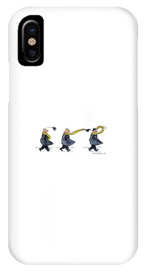(sequence Of Three Drawings In Which A Man's Hat Is Blown Off By The Wind And His Very Long Scarf Reaches Out To Grab It) Nature IPhone X Case featuring the drawing New Yorker January 25th, 1993 by Bill Woodman