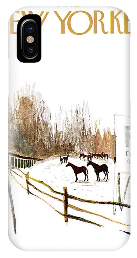 Suburb Country Outdoors Community Town Small Suburban Quaint Village Sport Sports Horse Horses Polo Snow Winter Snowing Jst James Stevenson Sumnerok James Stevenson Jst Artkey 49692 IPhone X Case featuring the painting New Yorker January 6th, 1962 by James Stevenson