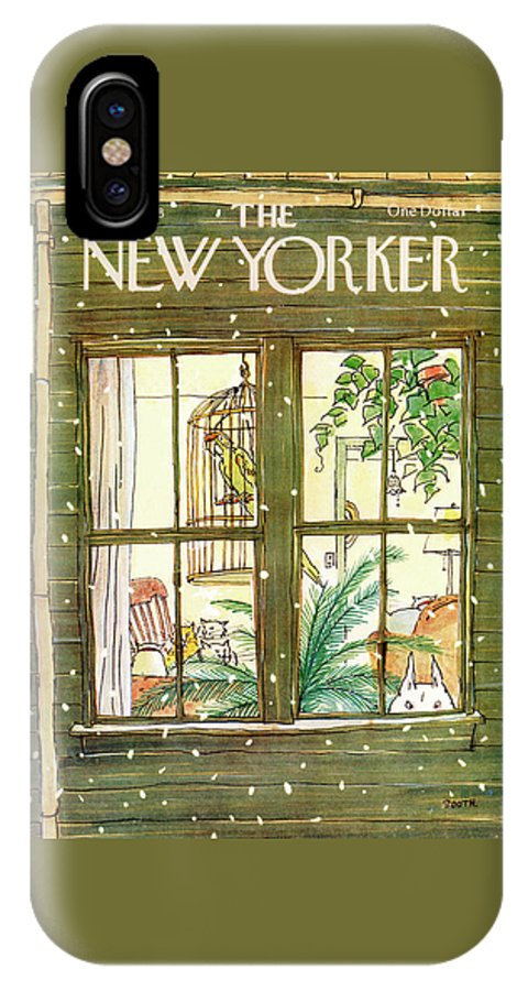 Interiors IPhone X Case featuring the painting New Yorker January 9th, 1978 by George Booth