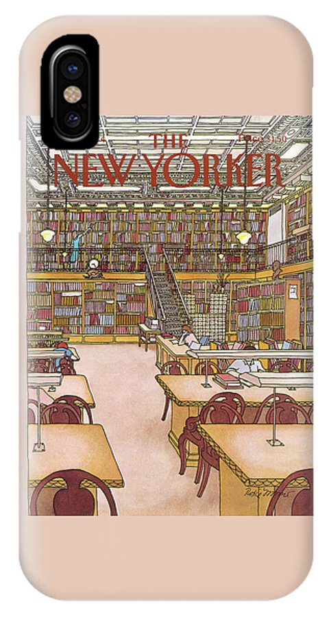 Library IPhone X Case featuring the painting New Yorker January 9th, 1984 by Roxie Munro