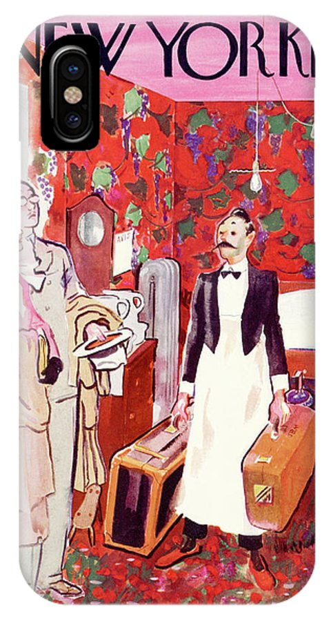 Hotel Motel Room Married Couple Husband Wife Bed Luggage Bag Boy Servant Wallpaper Hanging Light Marriage Love Travel Honeymoon Garrett Price Gpi Garrett Price Gpi Artkey 48366 IPhone X Case featuring the painting New Yorker July 15th, 1933 by Garrett Price