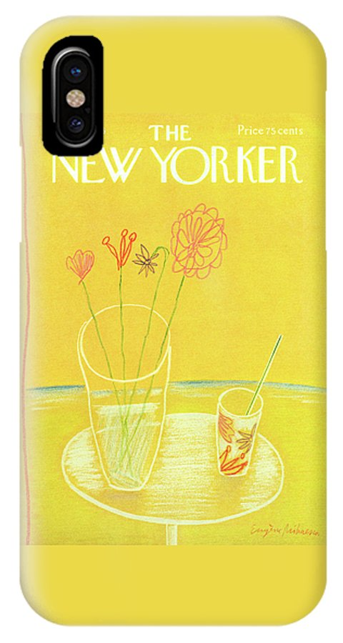 Drink IPhone X Case featuring the painting New Yorker July 26th, 1976 by Eugene Mihaesco