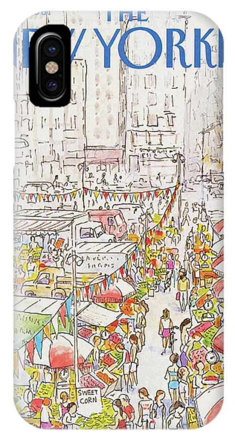 New York City IPhone X Case featuring the painting New Yorker July 27th, 1981 by Arthur Getz