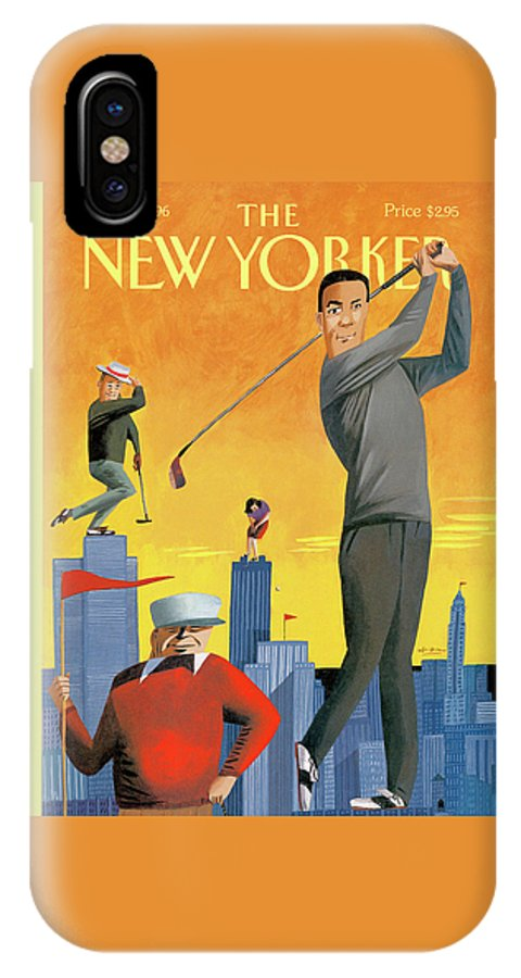 Tee Time IPhone X Case featuring the painting New Yorker June 10th, 1996 by Mark Ulriksen