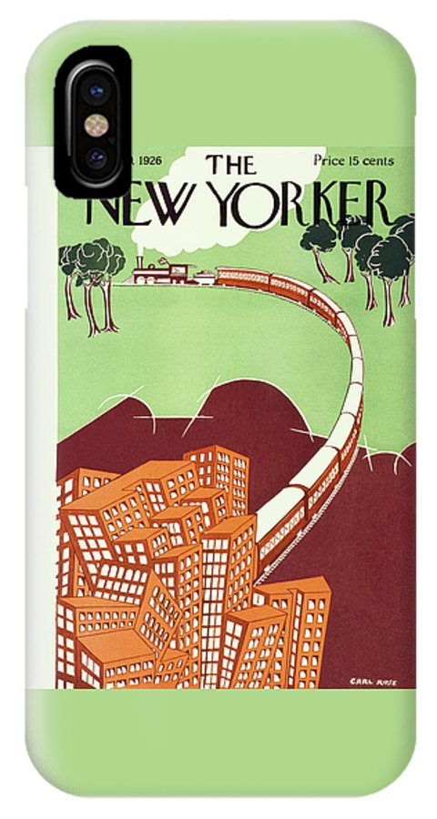 Illustration IPhone X Case featuring the painting New Yorker June 19 1926 by Carl Rose