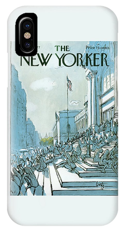 Summer IPhone X Case featuring the painting New Yorker June 27th, 1977 by Arthur Getz
