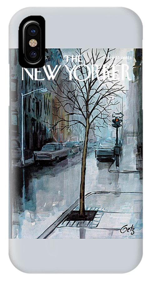 Rain IPhone X Case featuring the painting New Yorker March 12th, 1966 by Arthur Getz