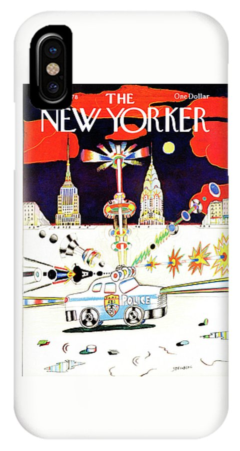 Saul Steinberg 50413 Steinbergattny  IPhone X Case featuring the painting New Yorker March 13th, 1978 by Saul Steinberg