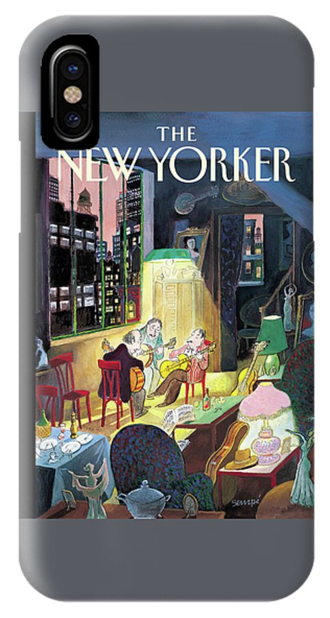 122064 122064 Jse J.j. Sempe IPhone X Case featuring the painting New Yorker March 13th, 2006 by Jean-Jacques Sempe