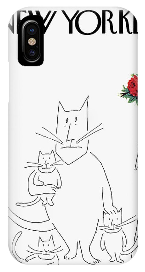 Saul Steinberg 49333 Steinbergattny Season Seasonal Spring Springtime Bloom Blossom Nature Flower Flowers Colors Colorful Portrait Picture Cat Cats Kitten Kittens Family Parent Children Kids Animal Animals Artkey IPhone X Case featuring the painting New Yorker March 20th, 1954 by Saul Steinberg
