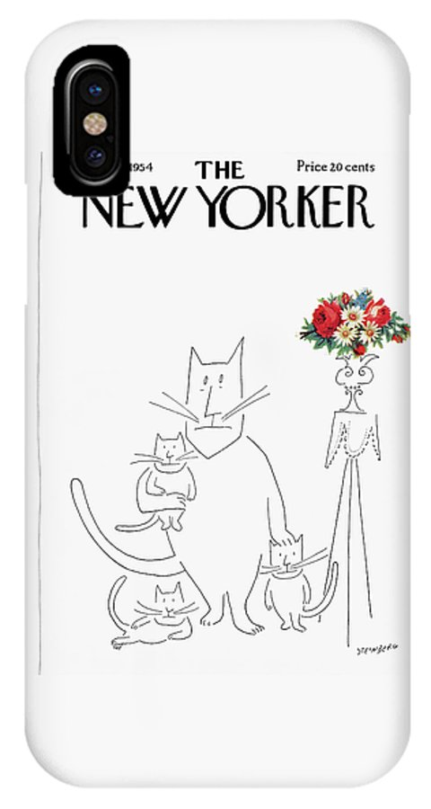 Saul Steinberg 49333 Steinbergattny IPhone X Case featuring the painting New Yorker March 20th, 1954 by Saul Steinberg