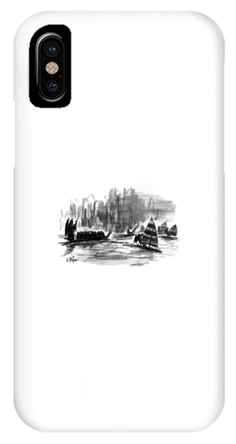 Entertainment IPhone X Case featuring the drawing New Yorker March 27th, 1995 by Warren Miller