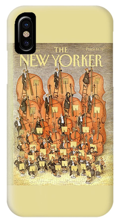 (an Orchestra Plays String Instruments That Increase In Size From The Front Row To The Back.) Entertainment IPhone X Case featuring the painting New Yorker March 6th, 1989 by John O'Brien