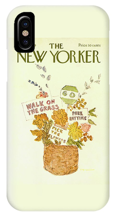 Walk On The Grass IPhone X Case featuring the painting New Yorker May 10th, 1969 by James Stevenson