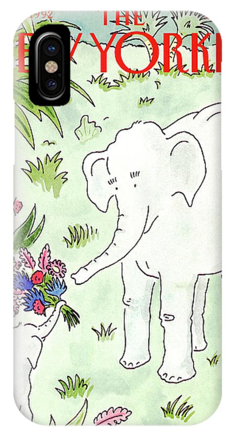 A Young Elephant Holds Out His Trunk IPhone X Case featuring the painting New Yorker May 11th, 1992 by Danny Shanahan