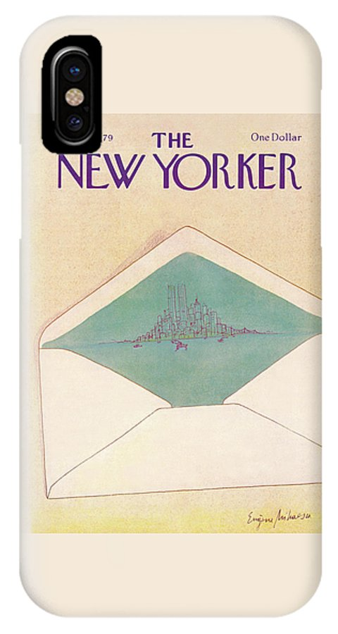 Eugene Mihaesco Emi IPhone X Case featuring the painting New Yorker May 14th, 1979 by Eugene Mihaesco