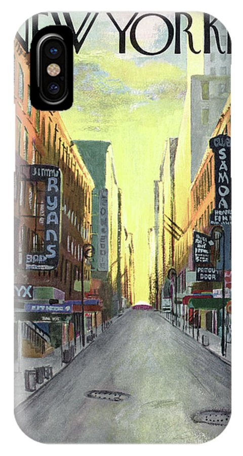 The Sun Rises On New York Jazz Clubs Of The 1940's IPhone X Case featuring the painting New Yorker May 1st, 1948 by Arthur Getz