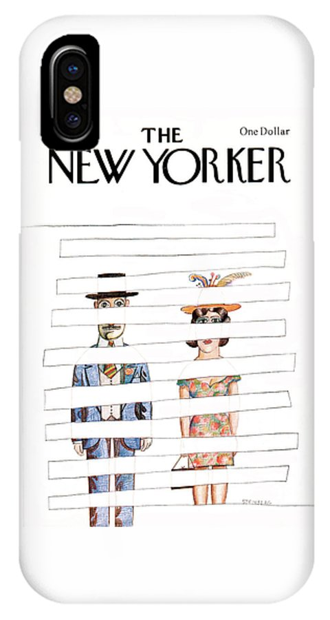Saul Steinberg 50415 Steinbergattny  IPhone X Case featuring the painting New Yorker May 1st, 1978 by Saul Steinberg