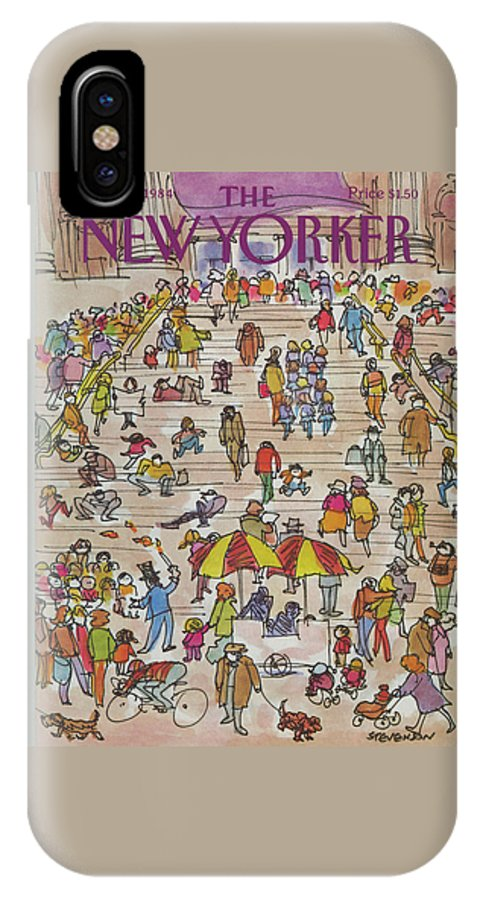 Metropolitan Museum IPhone X Case featuring the painting New Yorker May 21st, 1984 by James Stevenson