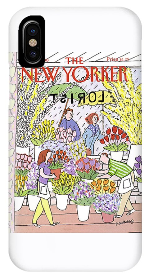 (workers IPhone X Case featuring the painting New Yorker May 28th, 1990 by Devera Ehrenberg