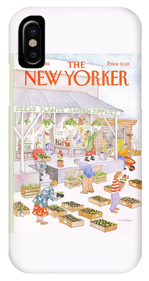 Garden IPhone X Case featuring the painting New Yorker May 6th, 1985 by Anne Burgess