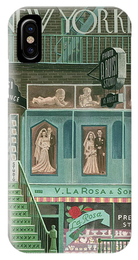 Store Storefront Shop Marriage Wedding Clothing Attire Dress Gown Roses Flowers Shops Fire Escape Witold Gordon Wgo Bodinok Artkey 49079 IPhone X Case featuring the painting New Yorker November 13th, 1948 by Witold Gordon