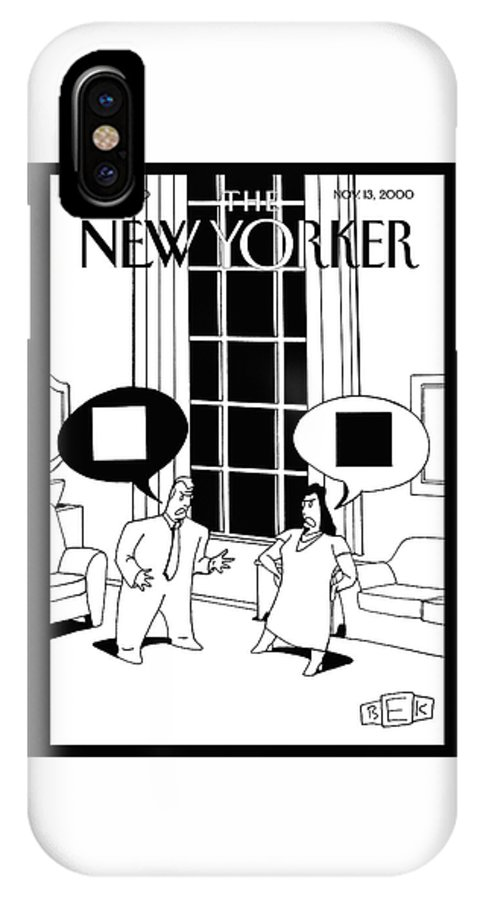 (kaplan's Cover Art For The 2000 Cartoon Issue.) Male Female Black White Opposites Argue Arguement Fight Disagree Clash Bruce Eric Kaplan Bek Yin Yang Attraction Bruce Eric Kaplan Bka Bodinbodin Bka Artkey 44670 IPhone X Case featuring the painting New Yorker November 13th, 2000 by Bruce Eric Kaplan