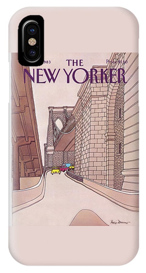 (cars And Taxis Motoring Up The Ramp To The Brooklyn Bridge.) New York City Urban Technology Architecture Automobiles Driving Travel Transportation Roxie Munro Rmu Artkey 47424 IPhone X Case featuring the painting New Yorker November 14th, 1983 by Roxie Munro