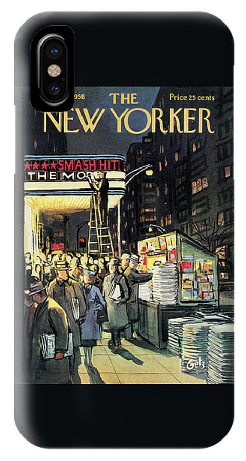 Entertainment IPhone X Case featuring the painting New Yorker November 22nd, 1958 by Arthur Getz