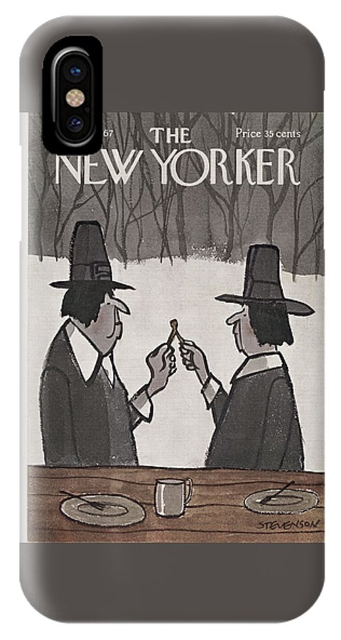 James Stevenson Jst IPhone X Case featuring the painting New Yorker November 25th, 1967 by James Stevenson