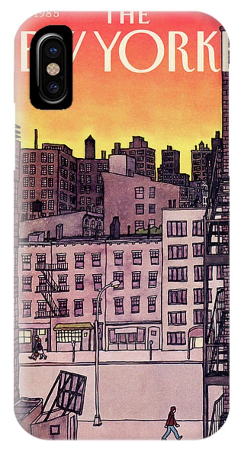 New York City IPhone X Case featuring the painting New Yorker November 25th, 1985 by Roxie Munro