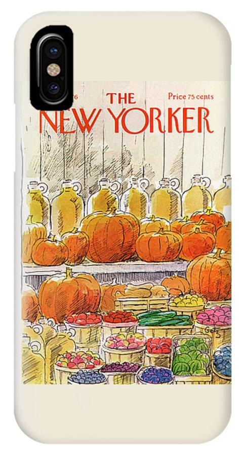 Halloween IPhone X Case featuring the painting New Yorker October 25th, 1976 by Arthur Getz