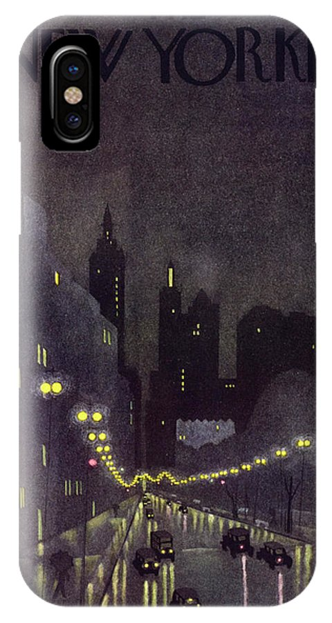 Illustration IPhone X Case featuring the painting New Yorker October 29 1932 by Arthur K. Kronengold