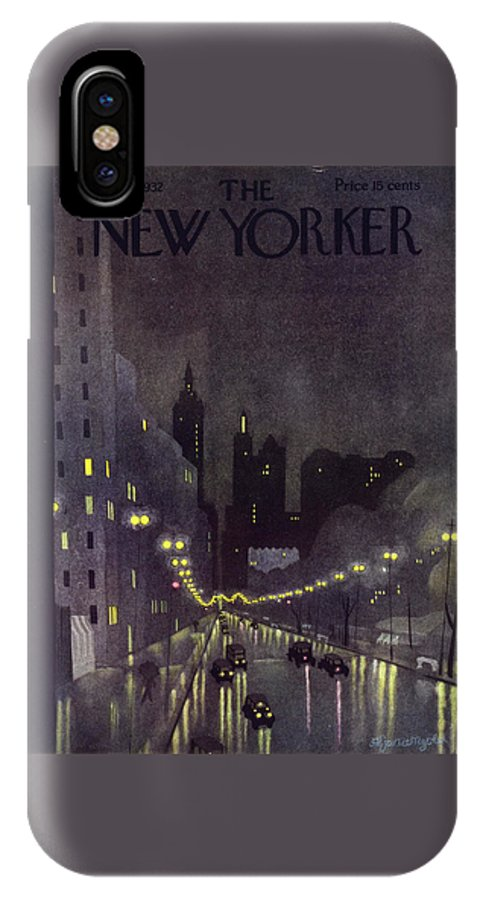Illustration IPhone X Case featuring the painting New Yorker October 29 1932 by Arthur K Kronengold