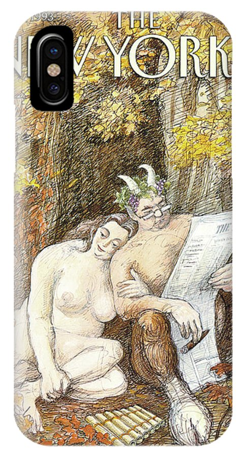 Remembrance Of Flings Past Artkey 50734 Eso Edward Sorel IPhone X Case featuring the painting New Yorker October 4th, 1993 by Edward Sorel