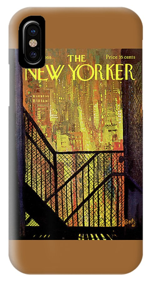 Arthur Getz Agt IPhone X Case featuring the painting New Yorker September 21st, 1968 by Arthur Getz
