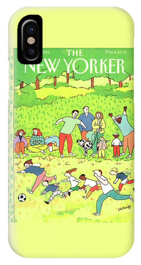Families Root Their Children As They Play A Game Of Soccer In A Park. IPhone X Case featuring the painting New Yorker September 2nd, 1991 by Devera Ehrenberg
