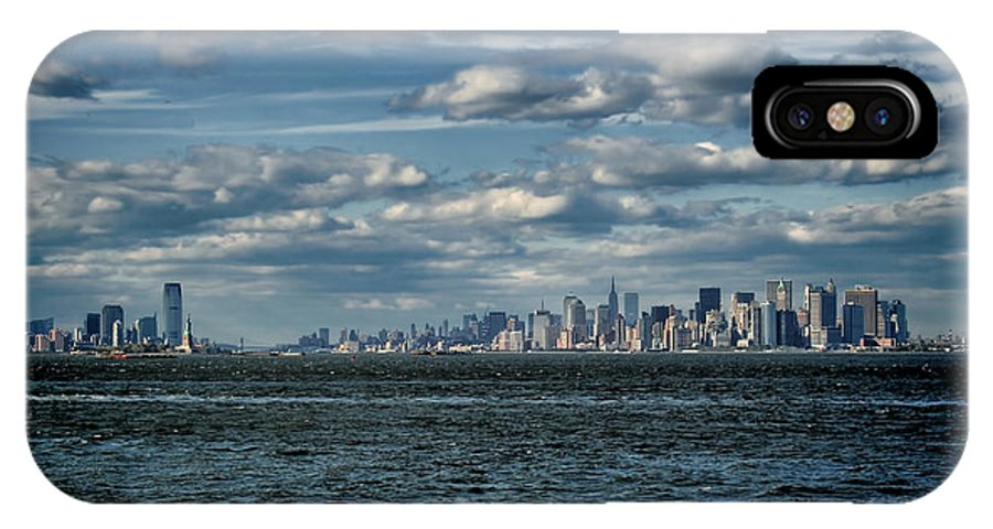 New Jersey IPhone X Case featuring the photograph Newark And New York City Skyline - Panoramic by Joey Lax-Salinas