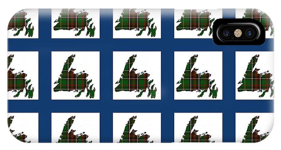 Newfoundland Tartan Map Blocks Blue Trim IPhone X Case featuring the photograph Newfoundland Tartan Map Blocks Blue Trim by Barbara Griffin