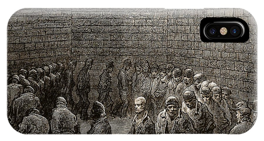 Gustave Dore IPhone X / XS Case featuring the drawing Newgate Prison Exercise Yard by Gustave Dore