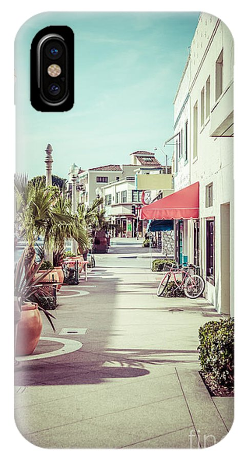 1950s IPhone X Case featuring the photograph Newport Beach Main Street Balboa Peninsula Picture by Paul Velgos