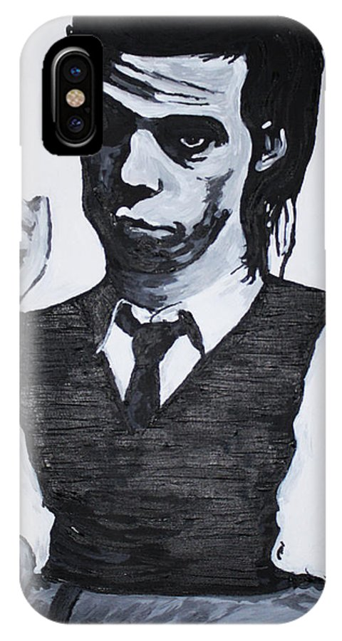 Nick Cave IPhone X Case featuring the painting Nick Cave by Bridget Brummel
